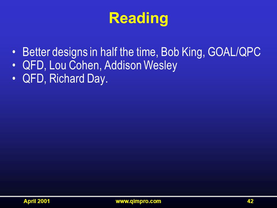 April 2001www.qimpro.com42 Reading Better designs in half the time, Bob King, GOAL/QPC QFD, Lou Cohen, Addison Wesley QFD, Richard Day.