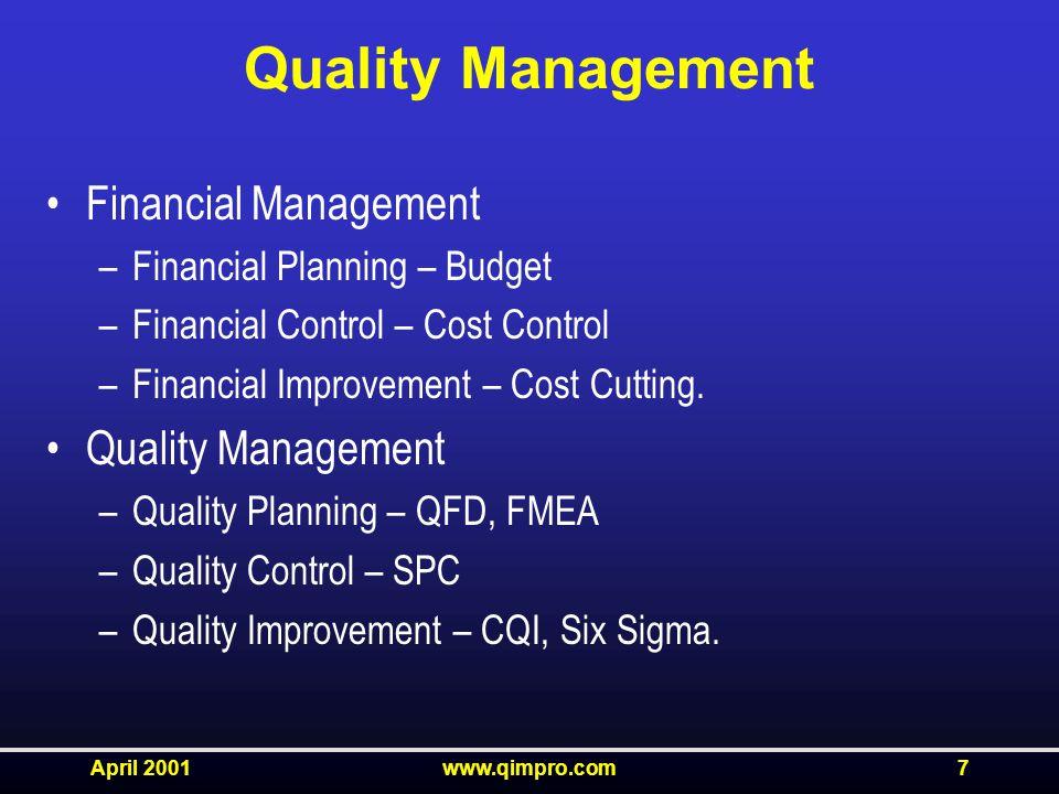 April 2001www.qimpro.com7 Quality Management Financial Management –Financial Planning – Budget –Financial Control – Cost Control –Financial Improvement – Cost Cutting.