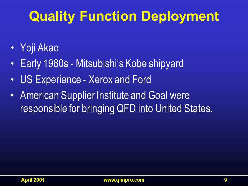 April 2001www.qimpro.com9 Quality Function Deployment Yoji Akao Early 1980s - Mitsubishi's Kobe shipyard US Experience - Xerox and Ford American Supplier Institute and Goal were responsible for bringing QFD into United States.