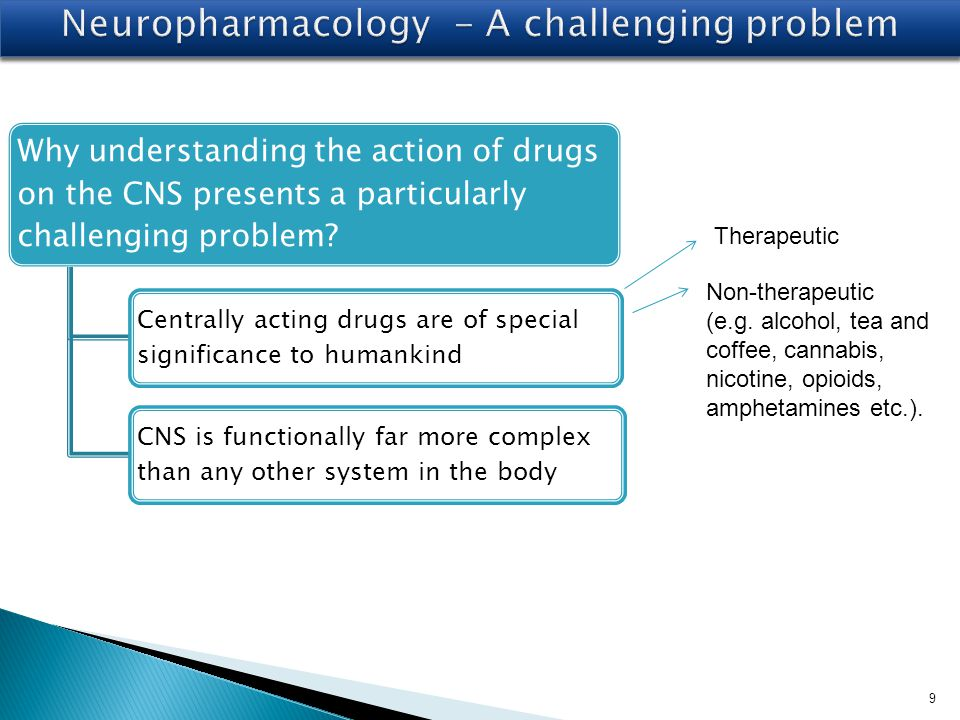 9 Why understanding the action of drugs on the CNS presents a particularly challenging problem.