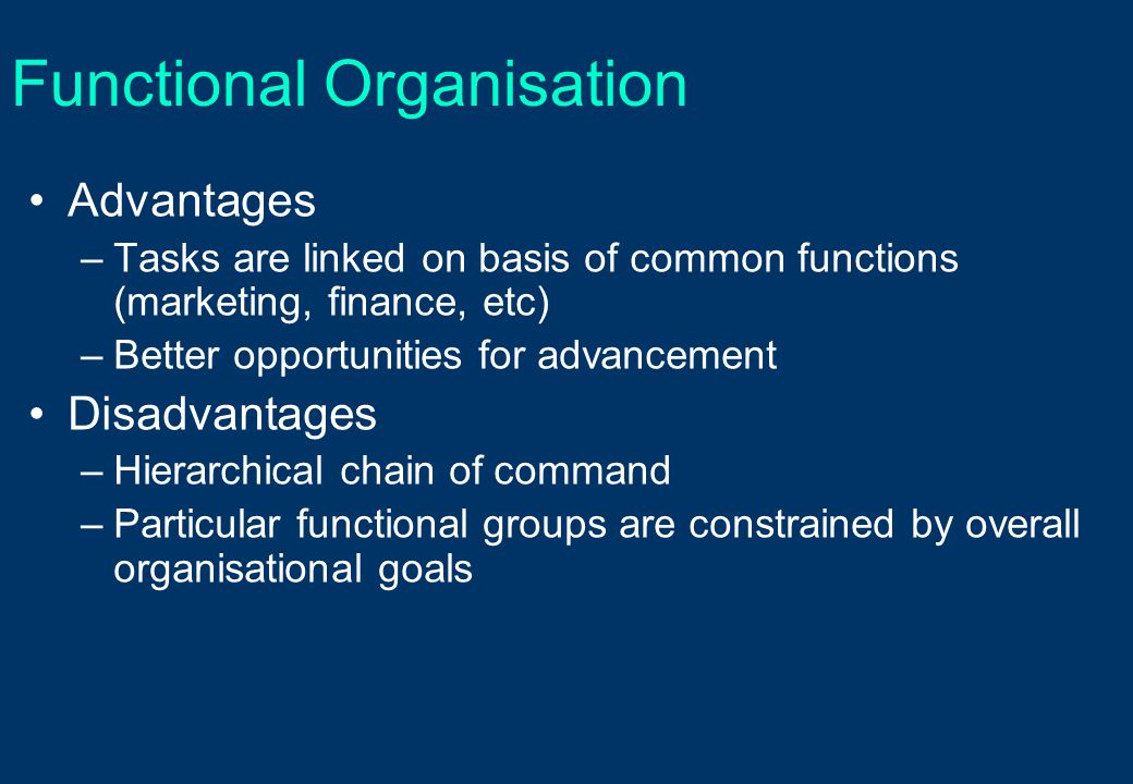 Functional Organisation Advantages –Tasks are linked on basis of common functions (marketing, finance, etc) –Better opportunities for advancement Disa