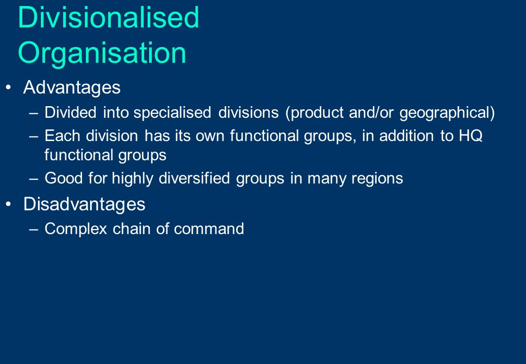 Divisionalised Organisation Advantages –Divided into specialised divisions (product and/or geographical) –Each division has its own functional groups,