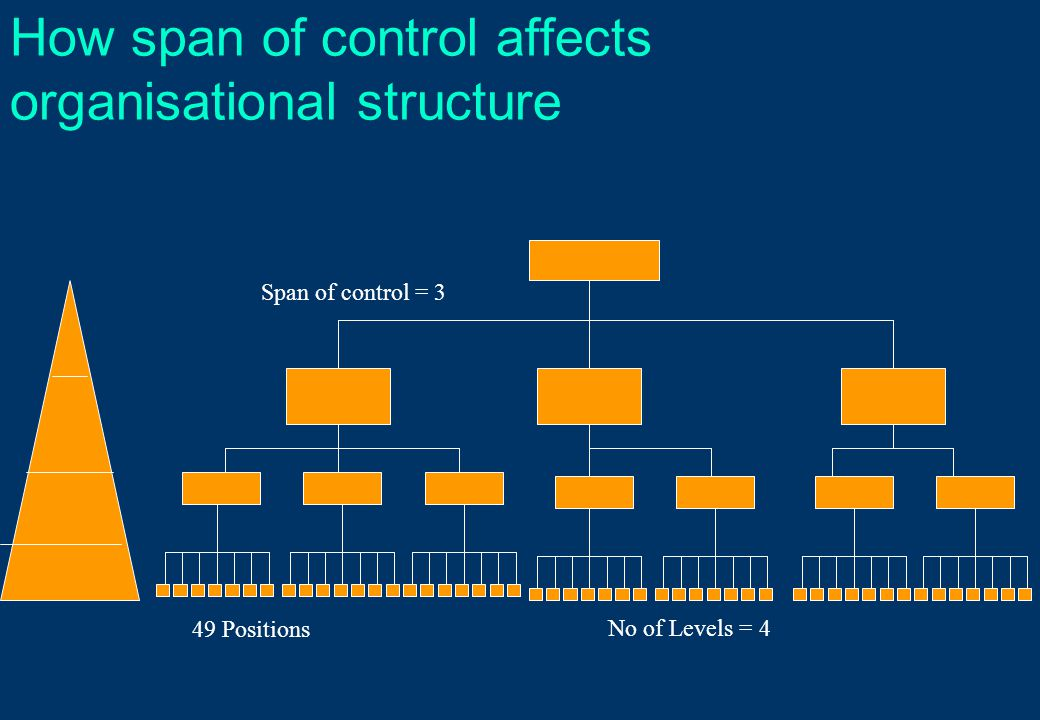 How span of control affects organisational structure Span of control = 3 49 Positions No of Levels = 4