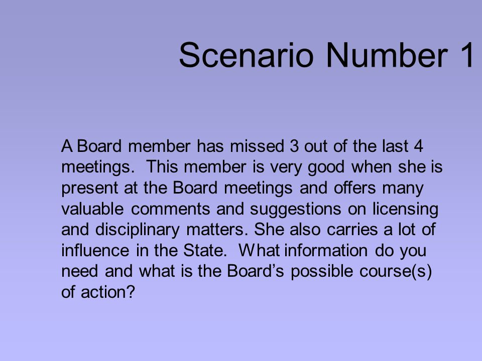 Scenario Number 1 A Board member has missed 3 out of the last 4 meetings.