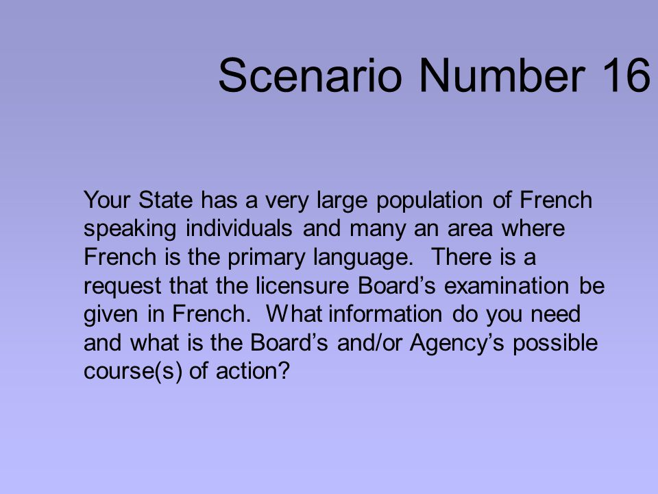 Scenario Number 16 Your State has a very large population of French speaking individuals and many an area where French is the primary language.