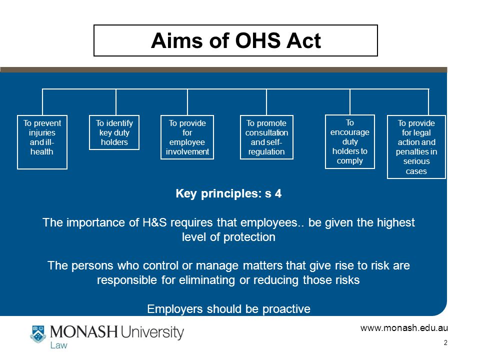 www.monash.edu.au 3 The employer's duties: ss 21 – 23; s 35 The OHS Act requires Monash as an employer to: –Provide and maintain a working environment that is safe and without risks to health – this includes safe plant, equipment, substances etc –Monitor: >The H&S of employees >The conditions at any workplace the EMR controls –Provide information about H&S to employees –Consult with employees about measures to be taken