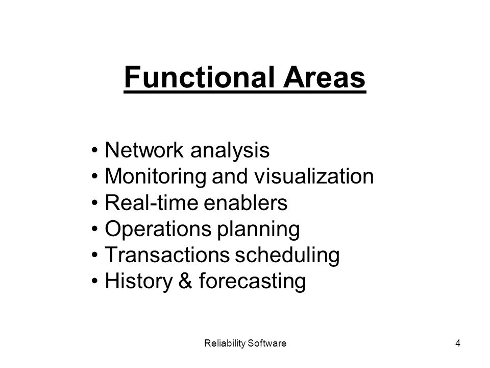 Reliability Software4 Functional Areas Network analysis Monitoring and visualization Real-time enablers Operations planning Transactions scheduling History & forecasting