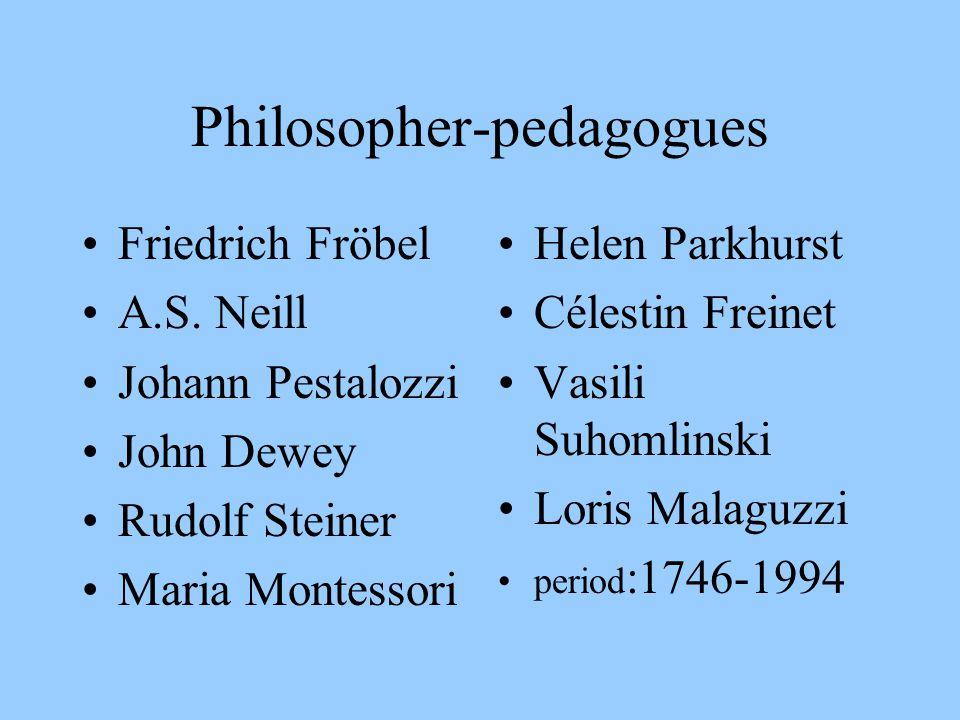 Philosopher-pedagogues Friedrich Fröbel A.S. Neill Johann Pestalozzi John Dewey Rudolf Steiner Maria Montessori Helen Parkhurst Célestin Freinet Vasil