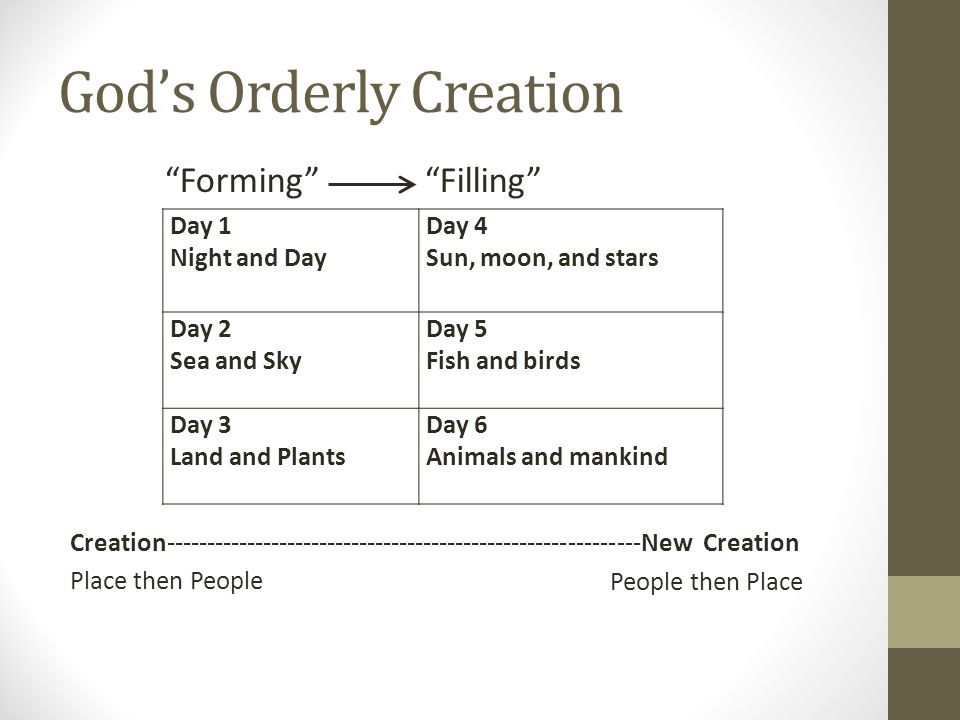 God's Orderly Creation Creation-----------------------------------------------------------New Creation Place then People Day 1 Night and Day Day 4 Sun, moon, and stars Day 2 Sea and Sky Day 5 Fish and birds Day 3 Land and Plants Day 6 Animals and mankind Forming Filling People then Place