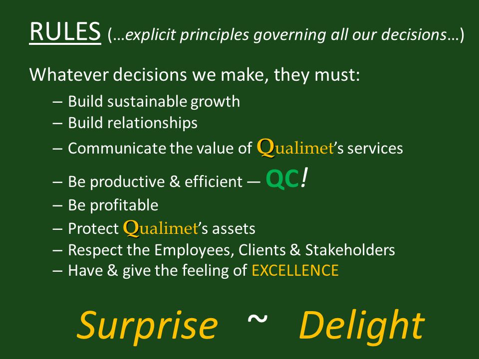 RULES (…explicit principles governing all our decisions…) Whatever decisions we make, they must: – Build sustainable growth – Build relationships Q – Communicate the value of Q ualimet 's services – Be productive & efficient — QC .
