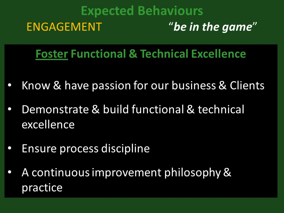 Expected Behaviours ENGAGEMENT be in the game Foster Functional & Technical Excellence Know & have passion for our business & Clients Demonstrate & build functional & technical excellence Ensure process discipline A continuous improvement philosophy & practice