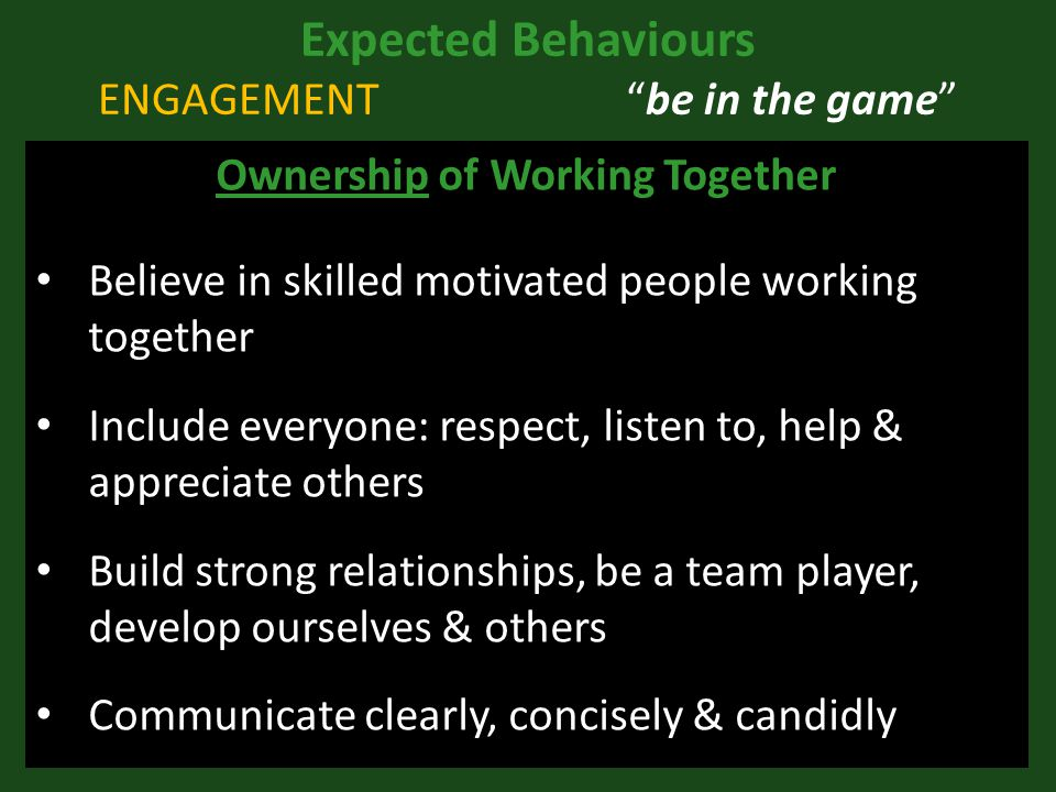 Expected Behaviours ENGAGEMENT be in the game Ownership of Working Together Believe in skilled motivated people working together Include everyone: respect, listen to, help & appreciate others Build strong relationships, be a team player, develop ourselves & others Communicate clearly, concisely & candidly