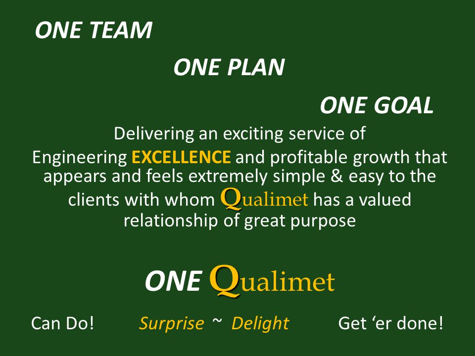 ONE TEAM ONE PLAN ONE GOAL Delivering an exciting service of Q Engineering EXCELLENCE and profitable growth that appears and feels extremely simple & easy to the clients with whom Q ualimet has a valued relationship of great purpose Q ONE Q ualimet Can Do.