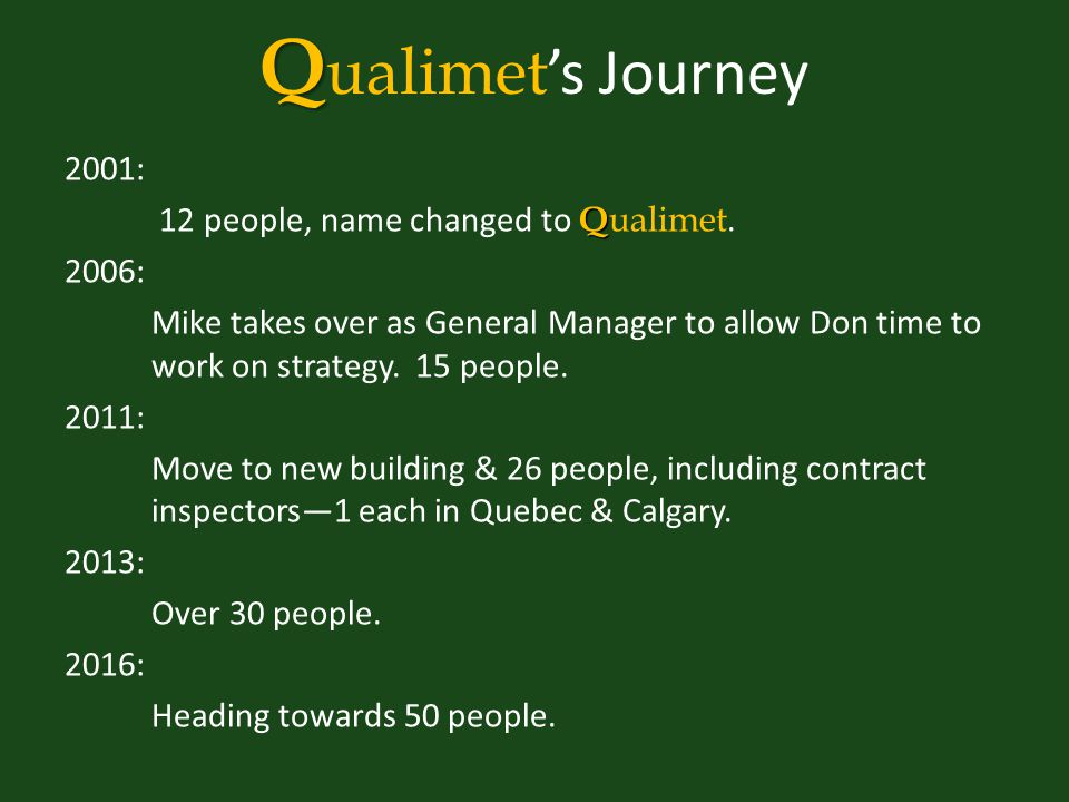 Q Q ualimet 's Journey 2001: Q 12 people, name changed to Q ualimet.