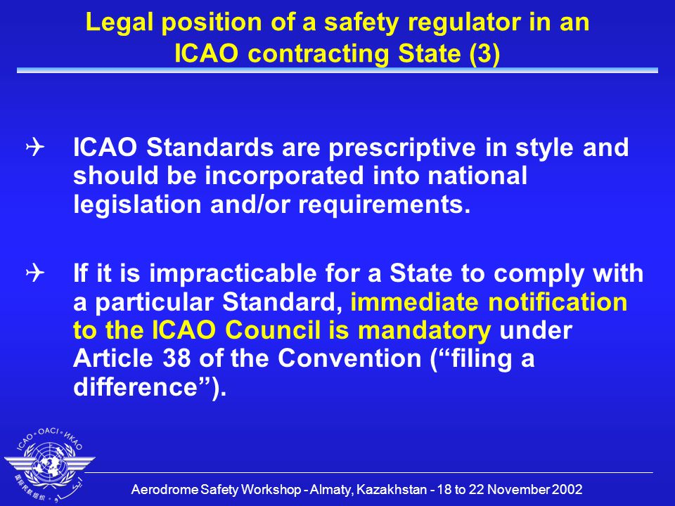 Aerodrome Safety Workshop - Almaty, Kazakhstan - 18 to 22 November 2002 Legal position of a safety regulator in an ICAO contracting State (3)  ICAO Standards are prescriptive in style and should be incorporated into national legislation and/or requirements.