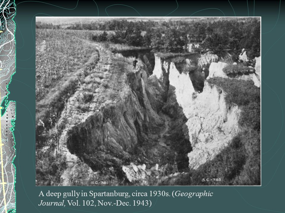 A deep gully in Spartanburg, circa 1930s. (Geographic Journal, Vol. 102, Nov.-Dec. 1943)