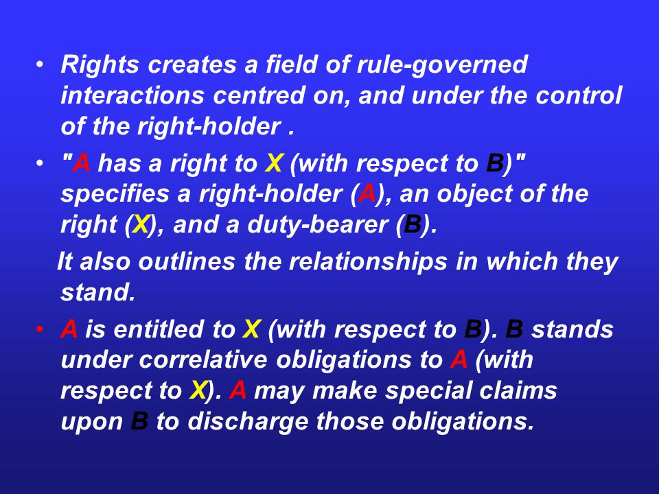 The right' of A is a moral principle that defining and sanctioning a man s freedom of action in a social field.