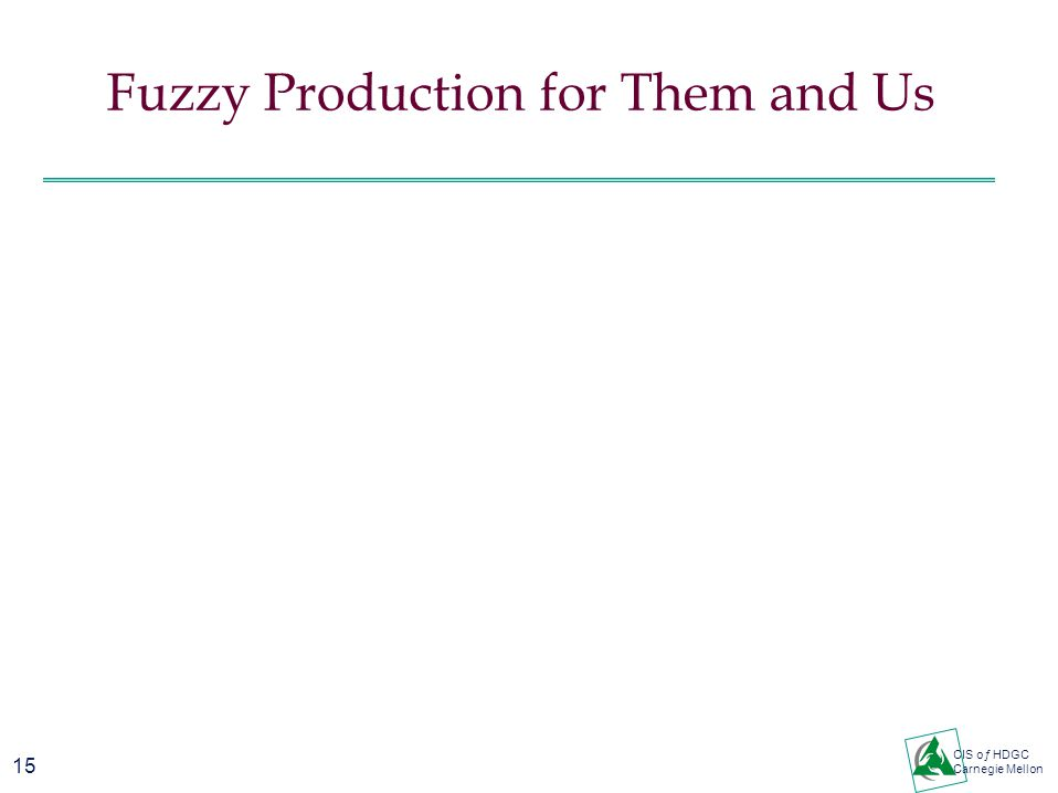 15 CIS oƒ HDGC Carnegie Mellon Fuzzy Production for Them and Us