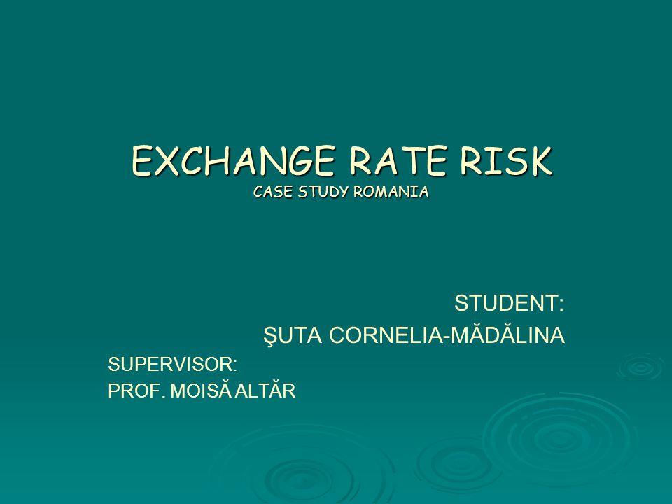 EXCHANGE RATE RISK CASE STUDY ROMANIA STUDENT: ŞUTA CORNELIA-MĂDĂLINA SUPERVISOR: PROF. MOISĂ ALTĂR