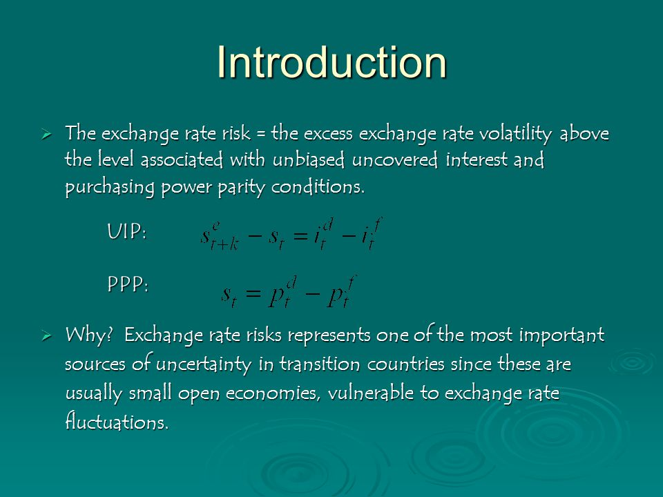 Introduction  The exchange rate risk = the excess exchange rate volatility above the level associated with unbiased uncovered interest and purchasing power parity conditions.