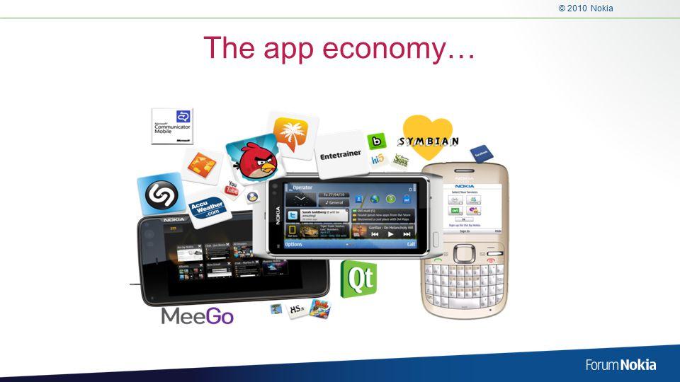 © 2010 Nokia The app economy…