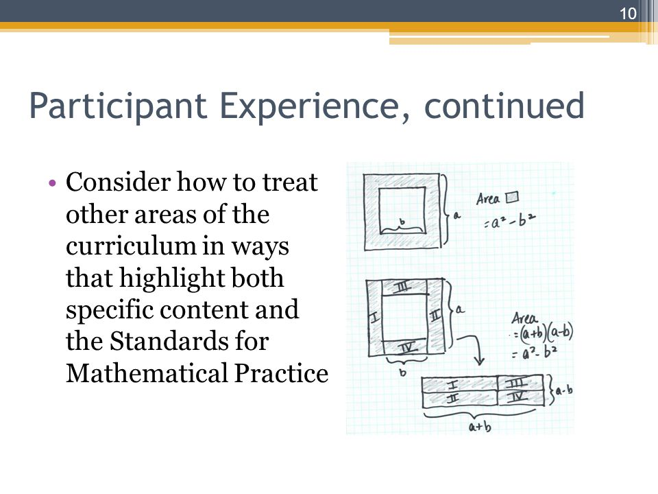 Consider how to treat other areas of the curriculum in ways that highlight both specific content and the Standards for Mathematical Practice 10 Participant Experience, continued