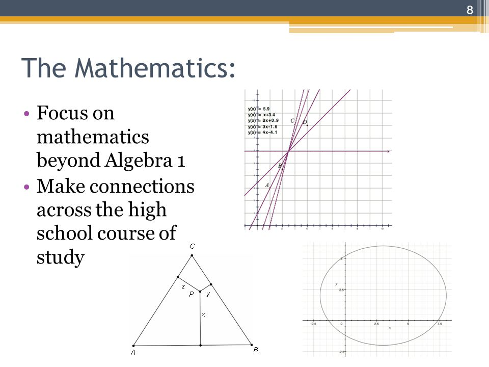 The Mathematics: Focus on mathematics beyond Algebra 1 Make connections across the high school course of study 8