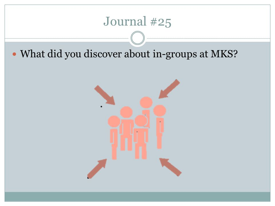 Journal #25 What did you discover about in-groups at MKS?