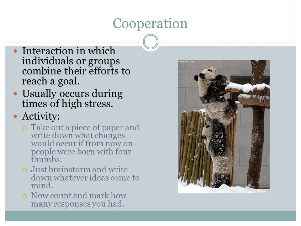 Cooperation Interaction in which individuals or groups combine their efforts to reach a goal.