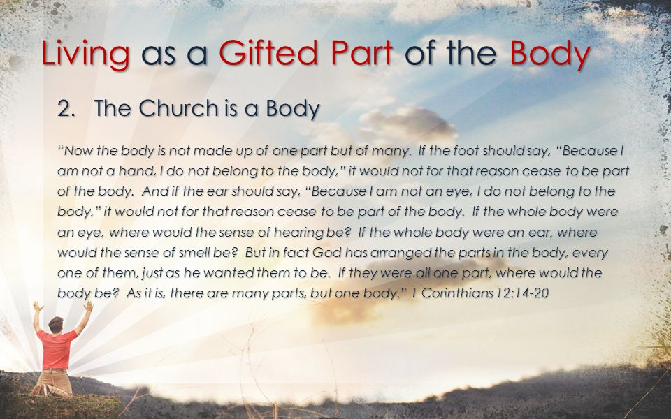 2. The Church is a Body Now the body is not made up of one part but of many.