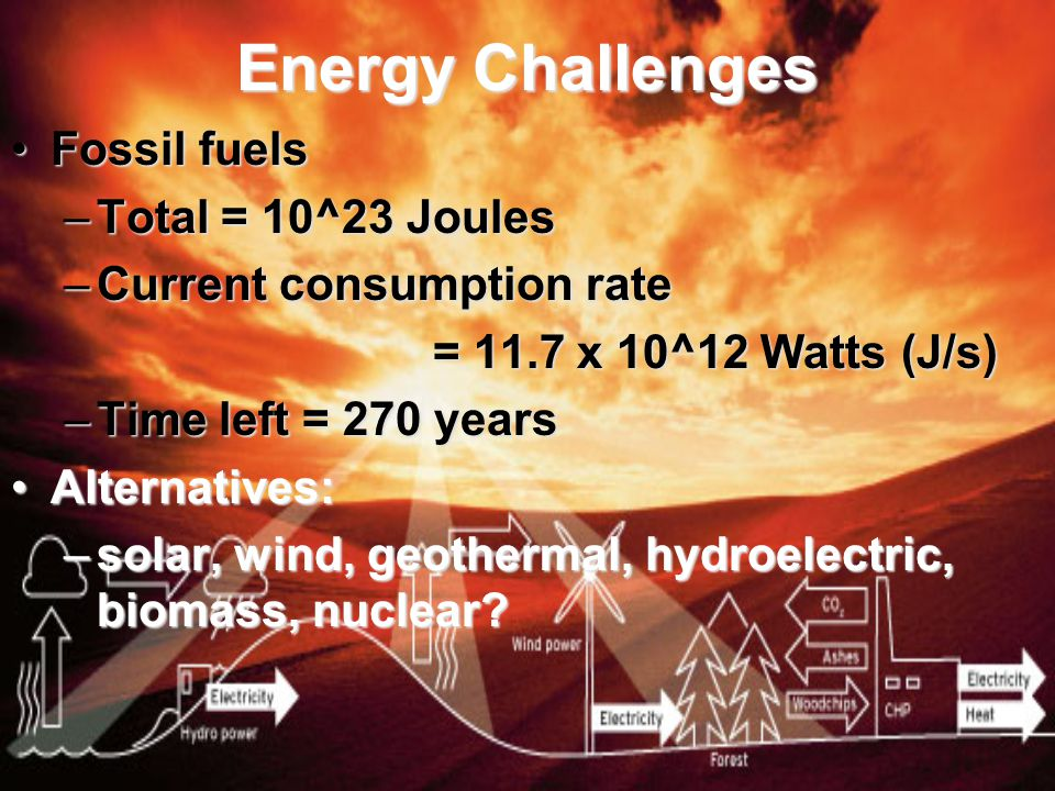 Energy Challenges Fossil fuelsFossil fuels –Total = 10^23 Joules –Current consumption rate = 11.7 x 10^12 Watts (J/s) –Time left = 270 years Alternatives:Alternatives: –solar, wind, geothermal, hydroelectric, biomass, nuclear