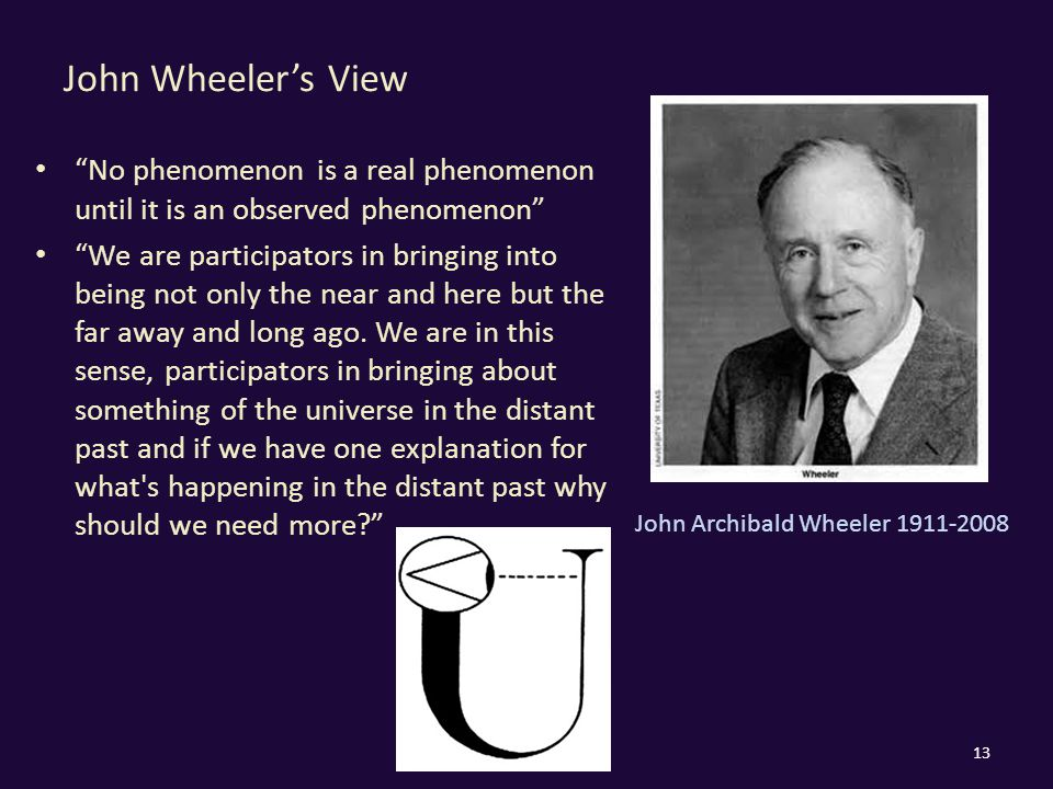 John Wheeler's View 13 No phenomenon is a real phenomenon until it is an observed phenomenon We are participators in bringing into being not only the near and here but the far away and long ago.