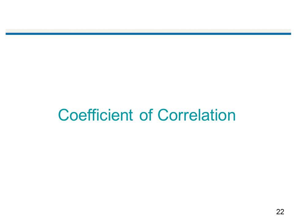 22 Coefficient of Correlation