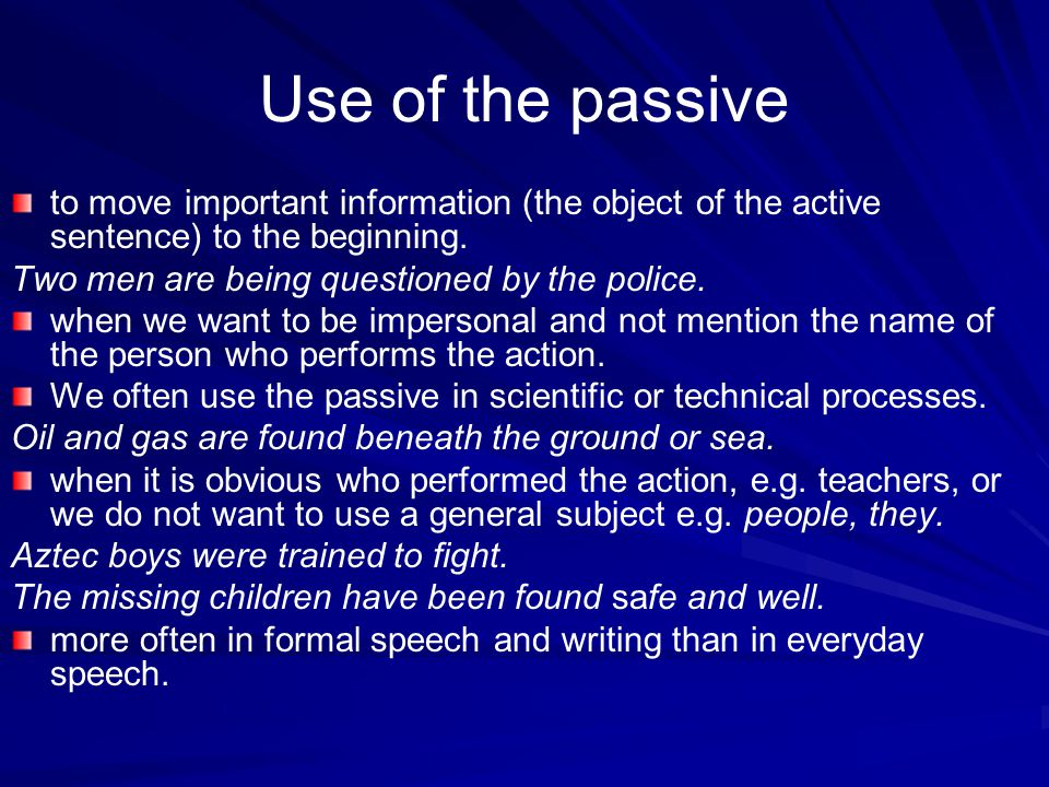 Other problems Be born is a passive form but does not have an obvious passive meaning.