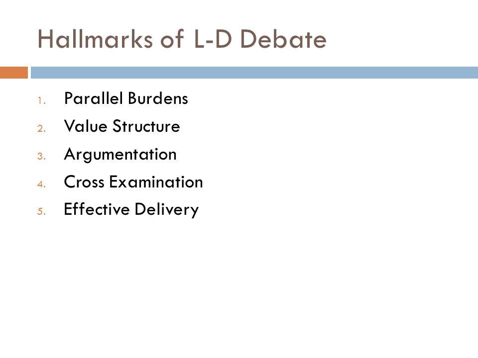 Hallmarks of L-D Debate 1. Parallel Burdens 2. Value Structure 3. Argumentation 4. Cross Examination 5. Effective Delivery