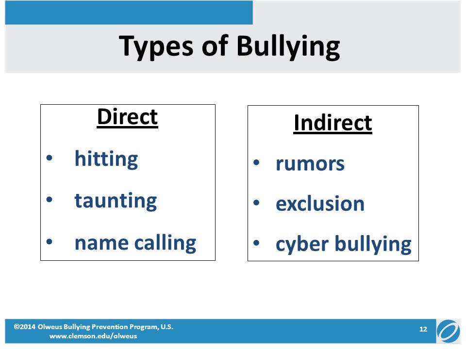 12 ©2014 Olweus Bullying Prevention Program, U.S. www.clemson.edu/olweus Types of Bullying Direct hitting taunting name calling Indirect rumors exclus