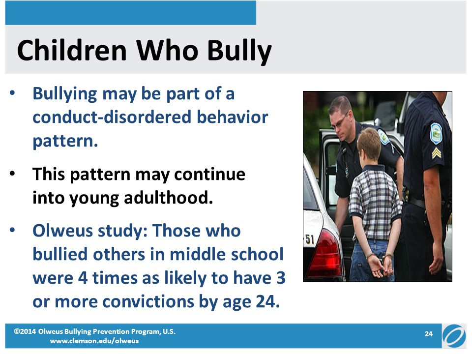 24 ©2014 Olweus Bullying Prevention Program, U.S. www.clemson.edu/olweus Children Who Bully Bullying may be part of a conduct-disordered behavior patt