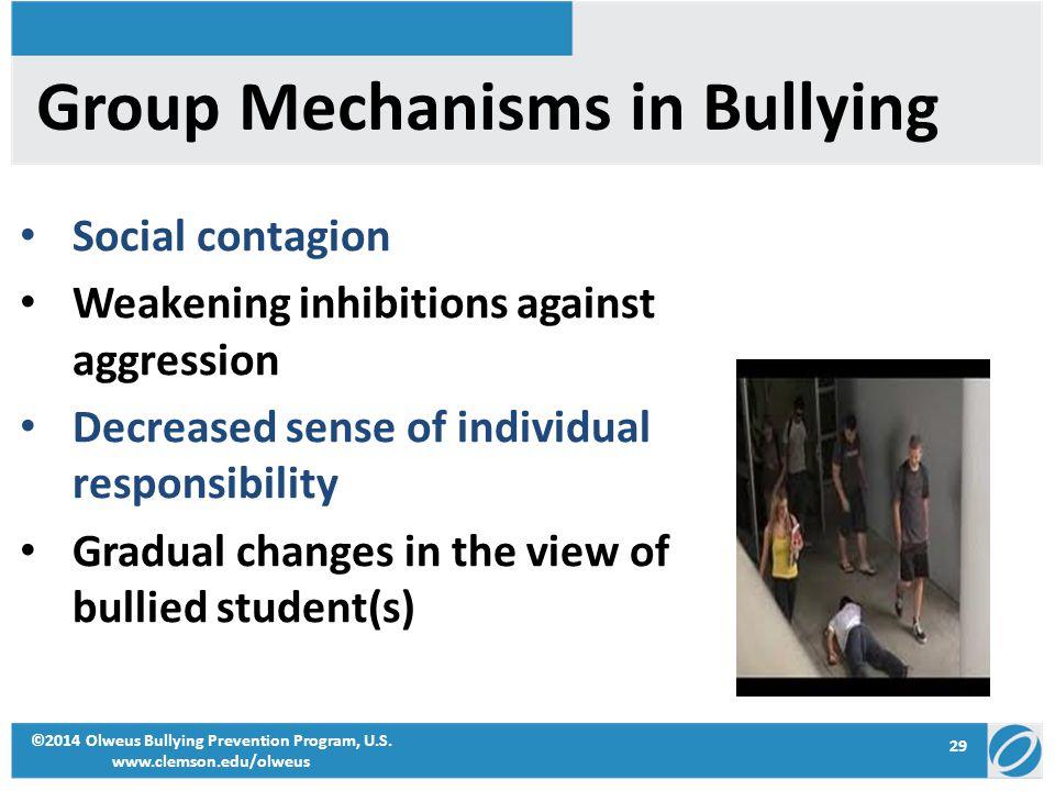 29 ©2014 Olweus Bullying Prevention Program, U.S. www.clemson.edu/olweus Group Mechanisms in Bullying Social contagion Weakening inhibitions against a