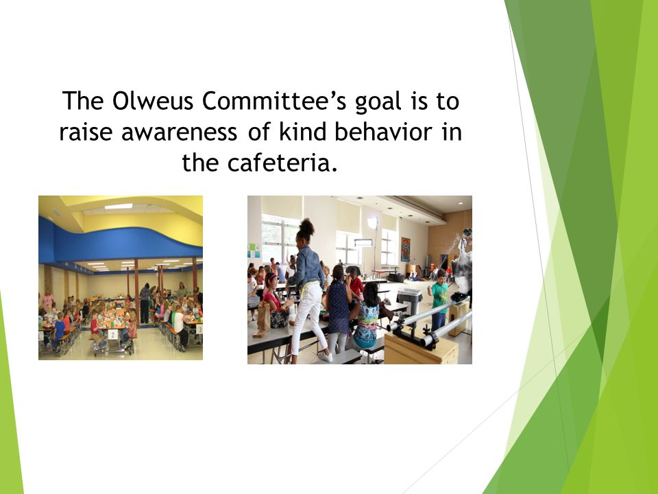The Olweus Committee's goal is to raise awareness of kind behavior in the cafeteria.