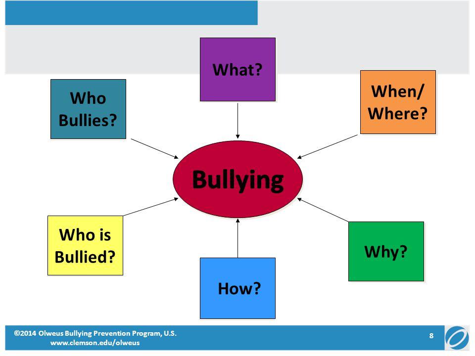 8 ©2014 Olweus Bullying Prevention Program, U.S. www.clemson.edu/olweus What? When/ Where? When/ Where? Why? How? Who is Bullied? Who is Bullied? Who