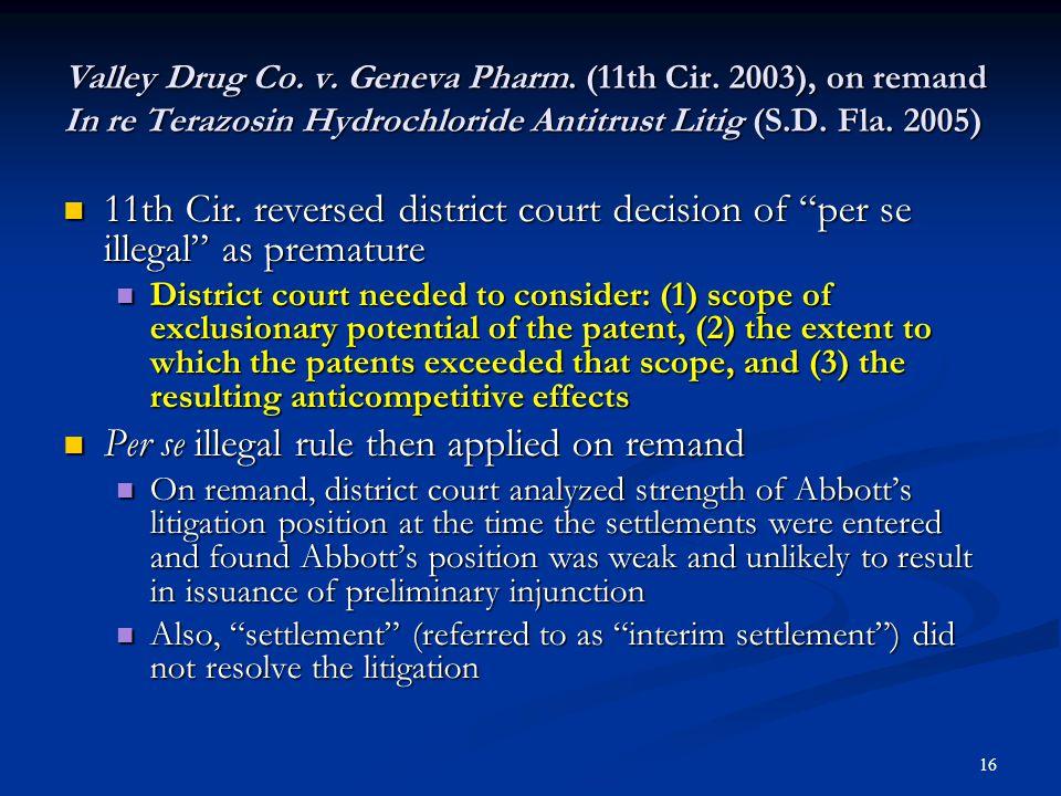 17 Legitimate patent settlement - In re Tamoxifen Citrate Antitrust Litig.