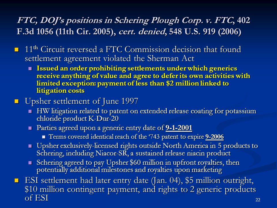 23 DOJ position in Schering Plough.v.