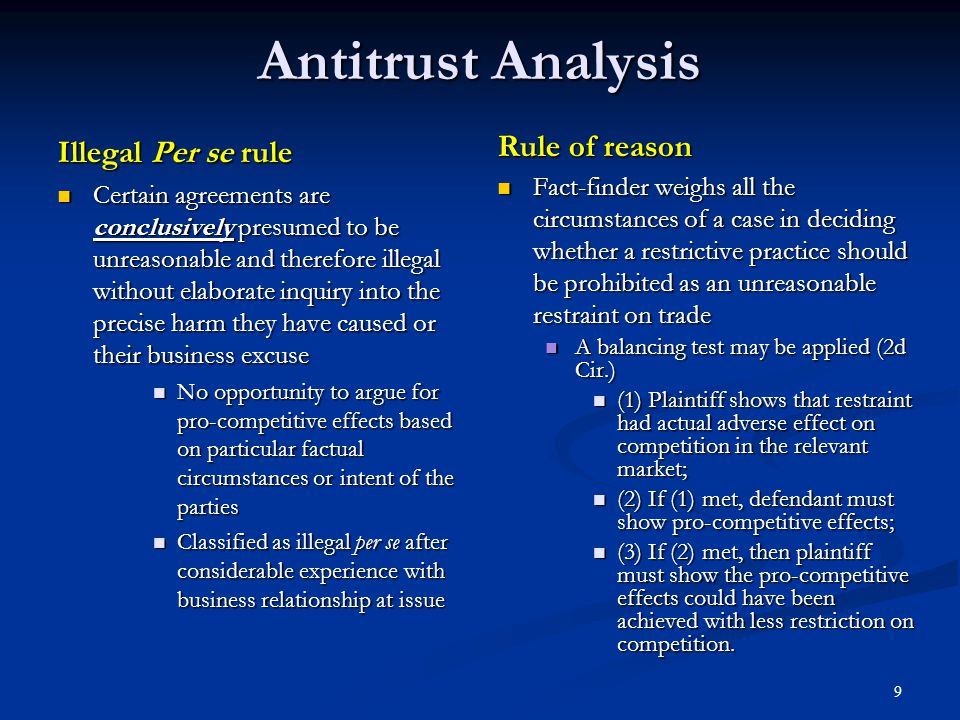 10 Clash Between Antitrust Principles and Patent Rights A patent allows its owner to lawfully restrain trade by virtue of the patent monopoly – recognized as an exception to the Sherman Act ( §§ 1 and 2) A patent allows its owner to lawfully restrain trade by virtue of the patent monopoly – recognized as an exception to the Sherman Act ( §§ 1 and 2) Practices typically considered per se illegal may be acceptable as within the scope of the patent right Practices typically considered per se illegal may be acceptable as within the scope of the patent right Price-fixing agreements are per se illegal Price-fixing agreements are per se illegal Yet, patentee may legally fix price at which licensee is allowed to sell the patented product (US v.