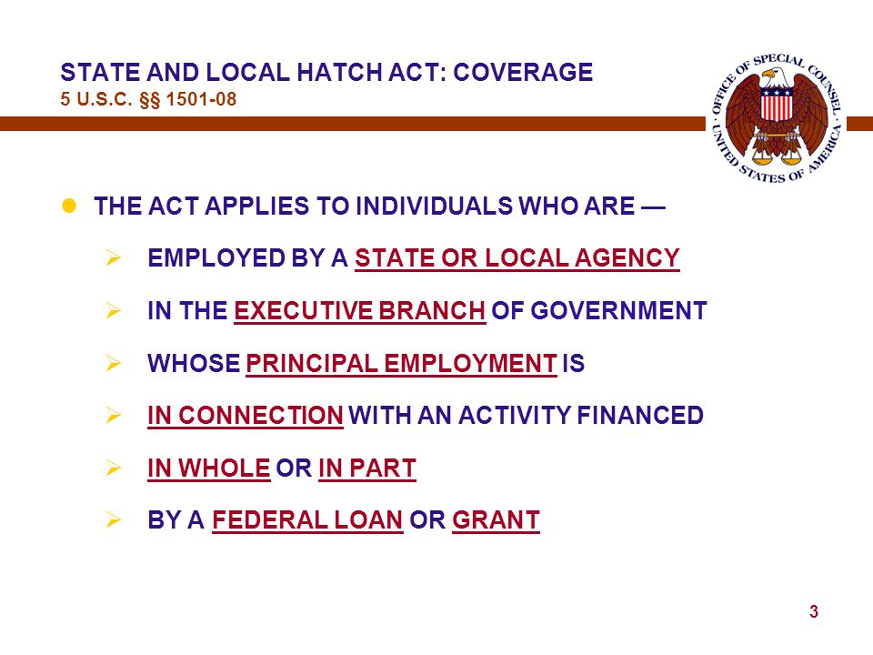 2 STATE AND LOCAL HATCH ACT 5 U.S.C.