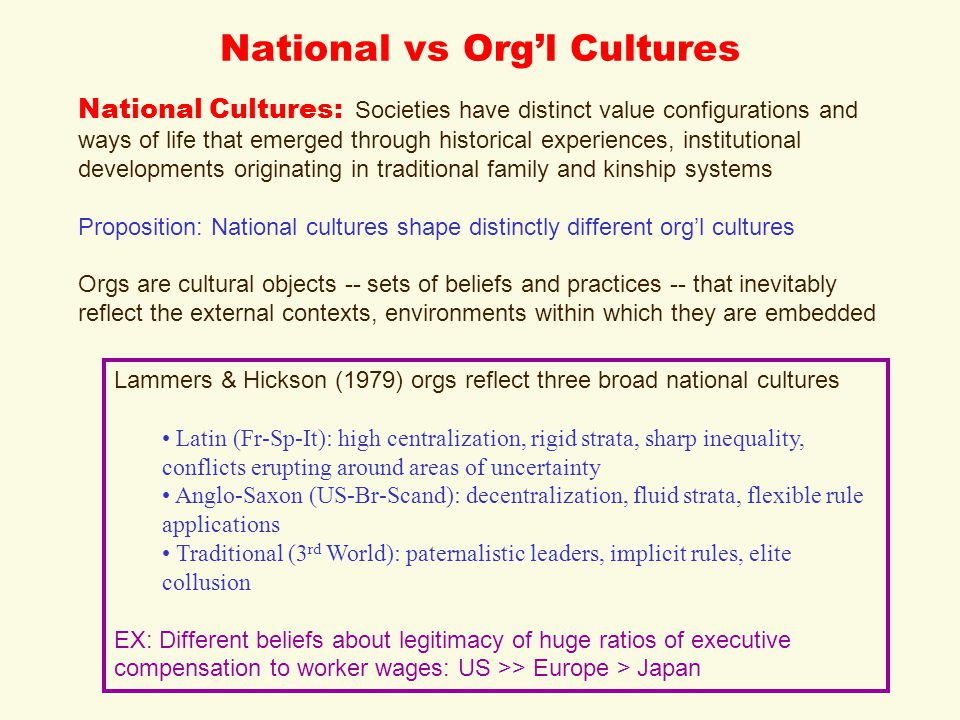 National vs Org'l Cultures National Cultures: Societies have distinct value configurations and ways of life that emerged through historical experiences, institutional developments originating in traditional family and kinship systems Proposition: National cultures shape distinctly different org'l cultures Orgs are cultural objects -- sets of beliefs and practices -- that inevitably reflect the external contexts, environments within which they are embedded Lammers & Hickson (1979) orgs reflect three broad national cultures Latin (Fr-Sp-It): high centralization, rigid strata, sharp inequality, conflicts erupting around areas of uncertainty Anglo-Saxon (US-Br-Scand): decentralization, fluid strata, flexible rule applications Traditional (3 rd World): paternalistic leaders, implicit rules, elite collusion EX: Different beliefs about legitimacy of huge ratios of executive compensation to worker wages: US >> Europe > Japan