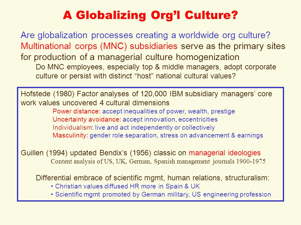 A Globalizing Org'l Culture. Are globalization processes creating a worldwide org culture.