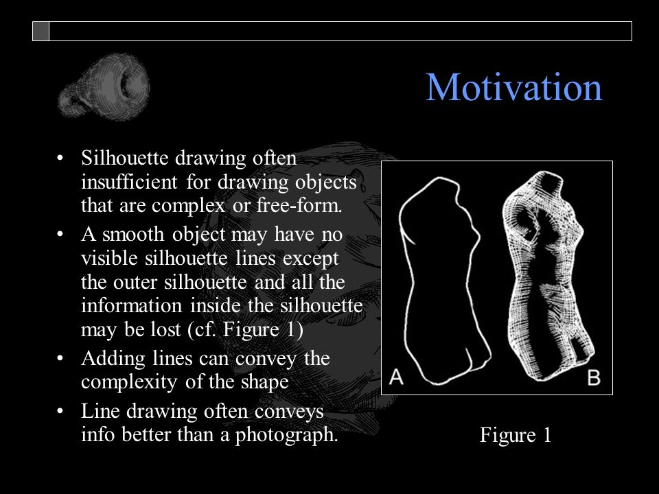 Motivation Silhouette drawing often insufficient for drawing objects that are complex or free-form. A smooth object may have no visible silhouette lin
