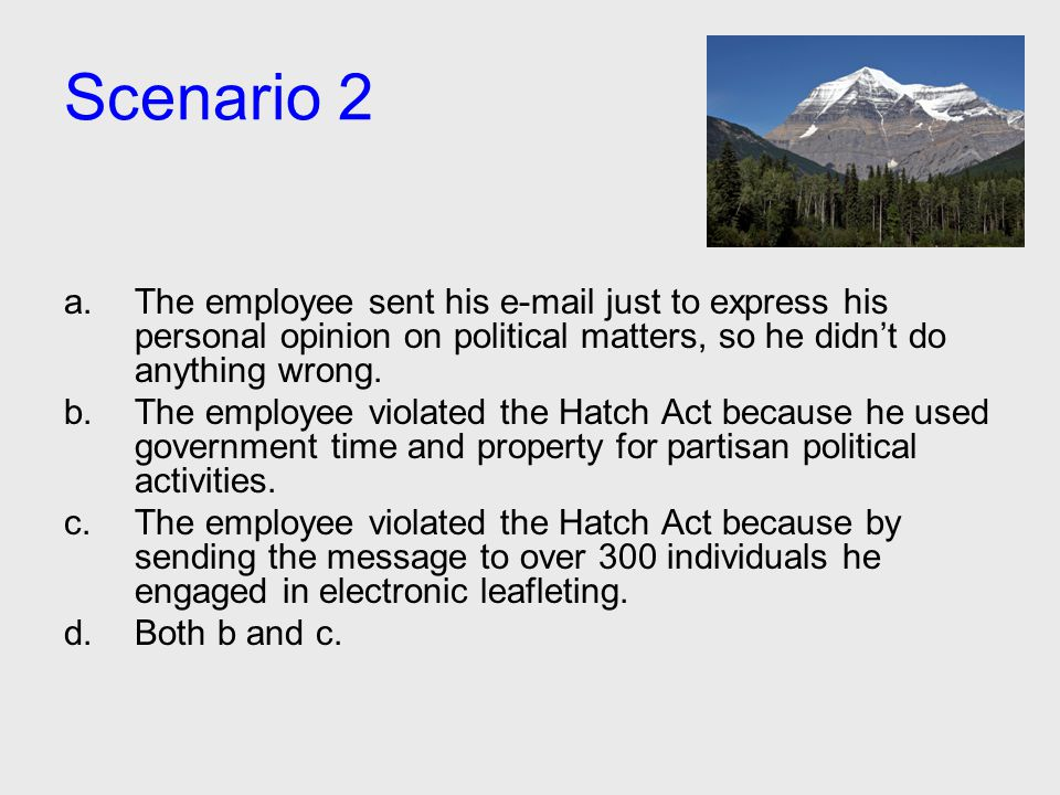 Scenario 2 a.The employee sent his e-mail just to express his personal opinion on political matters, so he didn't do anything wrong. b.The employee vi