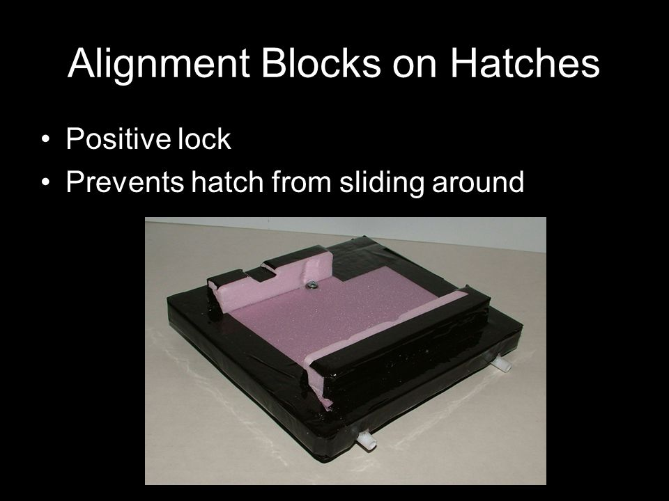 Alignment Blocks on Hatches Positive lock Prevents hatch from sliding around