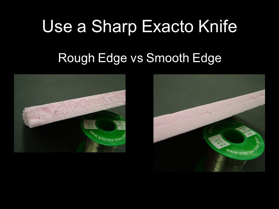 What angle is the Exacto knife held while cutting?